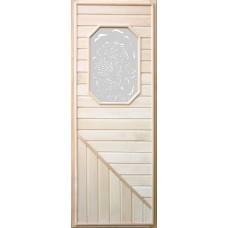 DoorWood 750x1850 Вагонка (со стеклом 8-ми угольным, коробка липа)