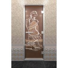 Doorwood 1900x700 (хамам, бронза, с рисунком, коробка алюминий)